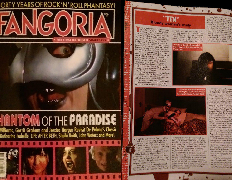 TEN featured in Fangoria magazine issue #335
