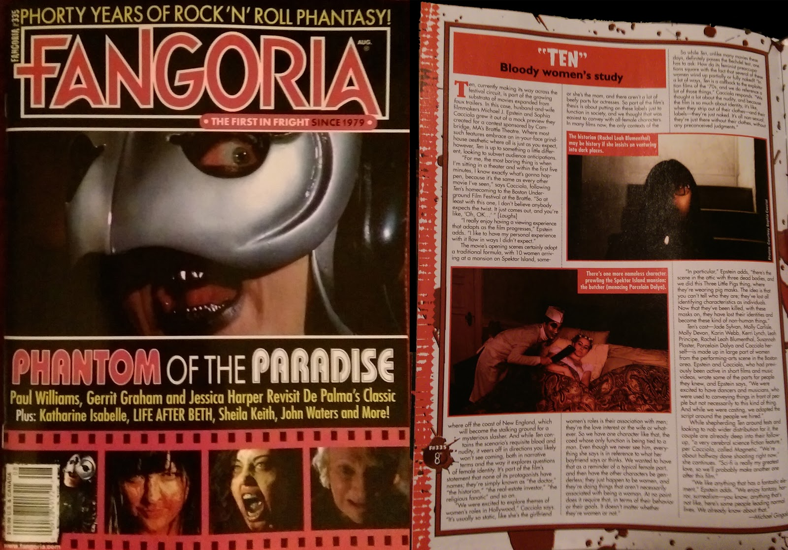 TEN featured in Fangoria magazine issue #335