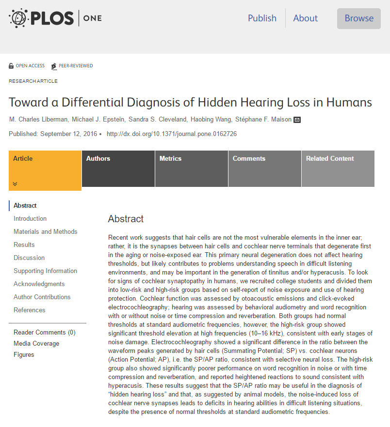 "Michael co-authors journal article on ""hidden hearing loss"""
