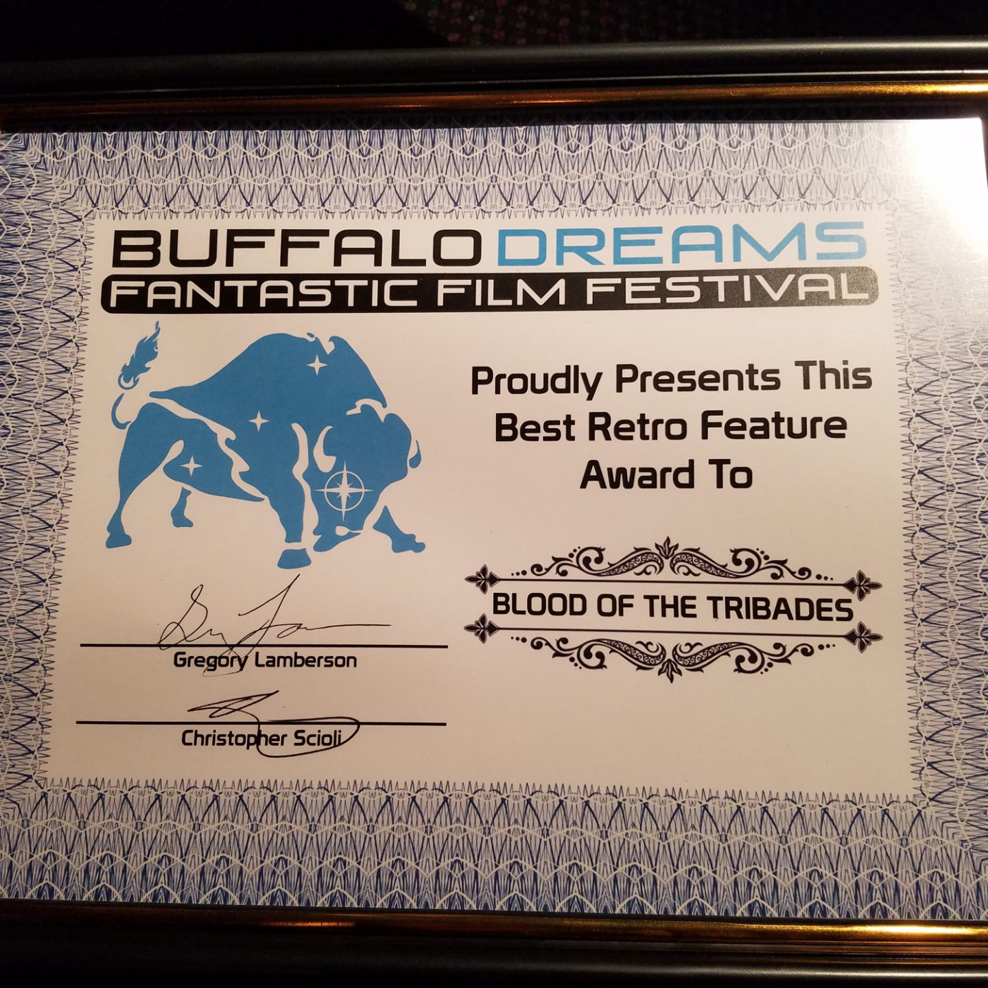 Blood of the Tribades wins Best Retro Feature at Buffalo Dreams Fantastic Film Festival on Monday, November 7th at Eastern Hills Cinema in Williamsville, New York (Sophia and Michael will be in attendance!)